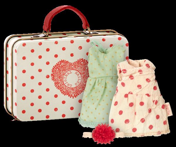Maileg Koffer mit 2 Kleidchen für Maus Micro