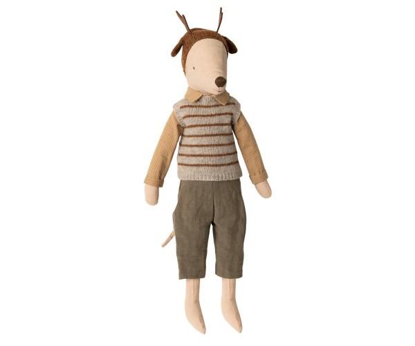 Maileg Mouse Boy Maxi mit Hose, Hemd, Pullunder und Mütze