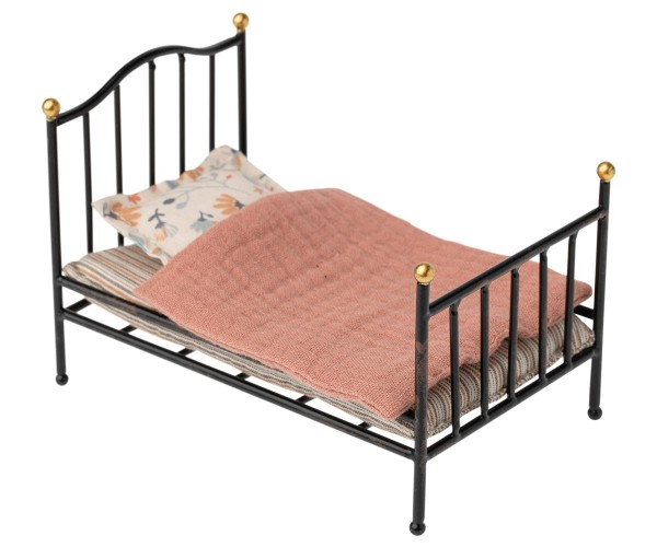 Maileg Vintage bed, mouse anthracite