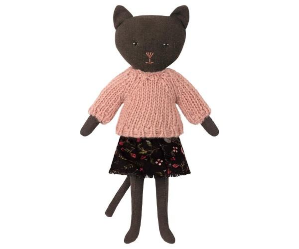 Maileg Katze schwarz mit Pullover und Rock
