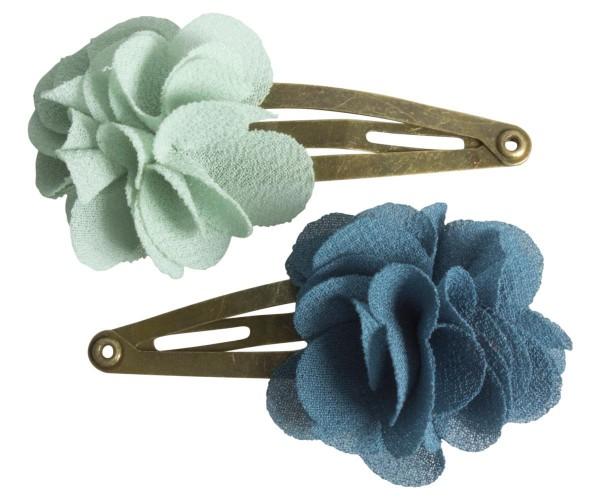 Maileg Haarspagen 2 Stck. mit fluffigen Blumen petrol light blue