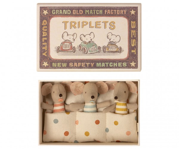 Maileg Mouse, triplets,baby mice in box