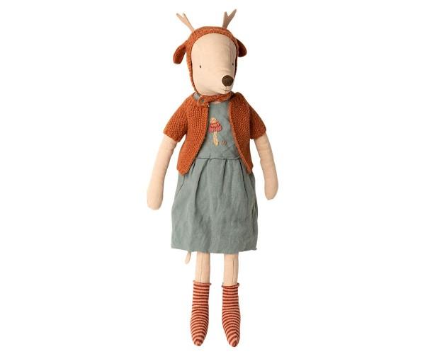Maileg Mouse Girl Maxi mit Kleid, Strickjäckchen, Mütze und Socken