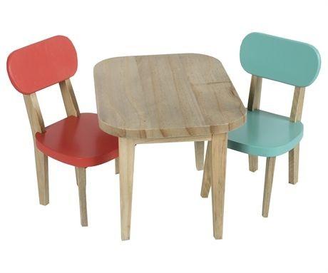 Maileg Tisch mit zwei Stühlen in türkis und koralle