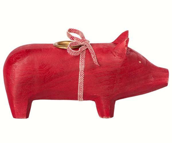 Maileg Schweinchen aus Holz Medium rot