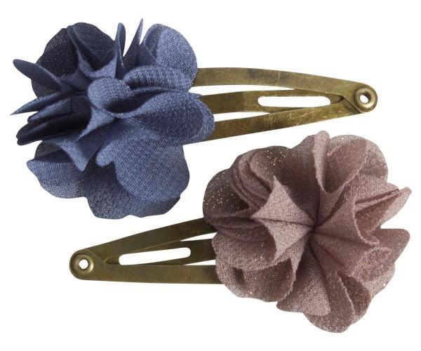 Maileg Haarspagen 2 Stck. mit fluffigen Blumen blue brown