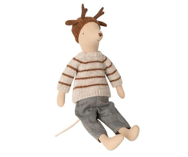 Maileg Mouse Boy Medium mit Hose, Strickpullover und Mütze